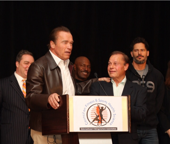 Arnold, Chiropractor Franco Columbu, Actor Joe Manganiello, Olympian Lee Haney and some guy (Dr Pete!) photobombing in the background!